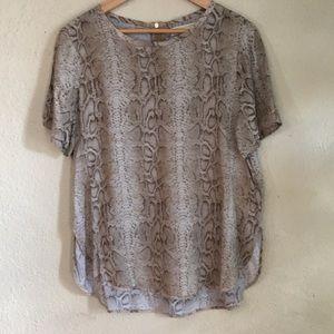 Michael Kors Snakeskin Print T Shirt Blouse